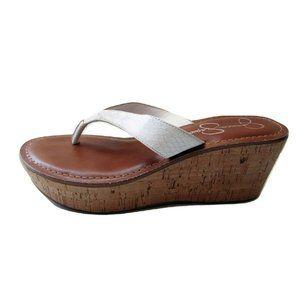 Jessica Simpson Faux Snakeskin/Cork Sandals 7.5M